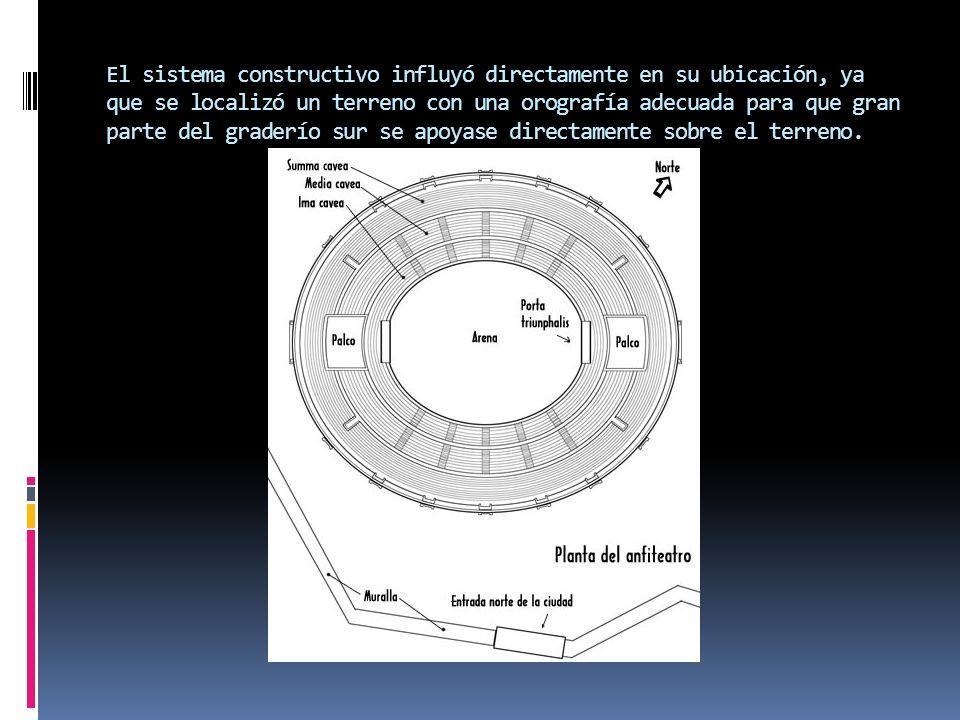 El sistema constructivo influyó directamente en su ubicación, ya que se localizó un terreno con una orografía adecuada para que gran parte del graderí