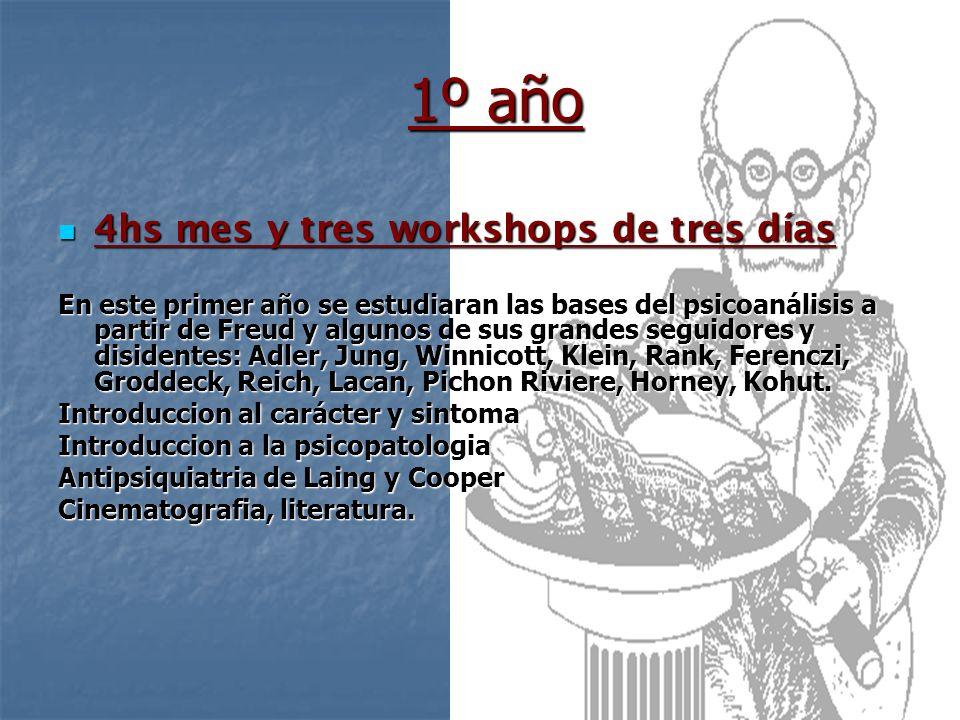 1º año 4hs mes y tres workshops de tres días 4hs mes y tres workshops de tres días En este primer año se estudiaran las bases del psicoanálisis a part