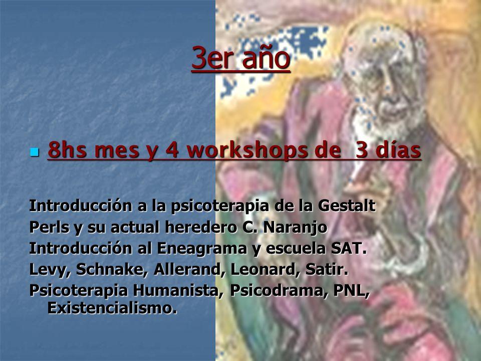 3er año 8hs mes y 4 workshops de 3 días 8hs mes y 4 workshops de 3 días Introducción a la psicoterapia de la Gestalt Perls y su actual heredero C. Nar