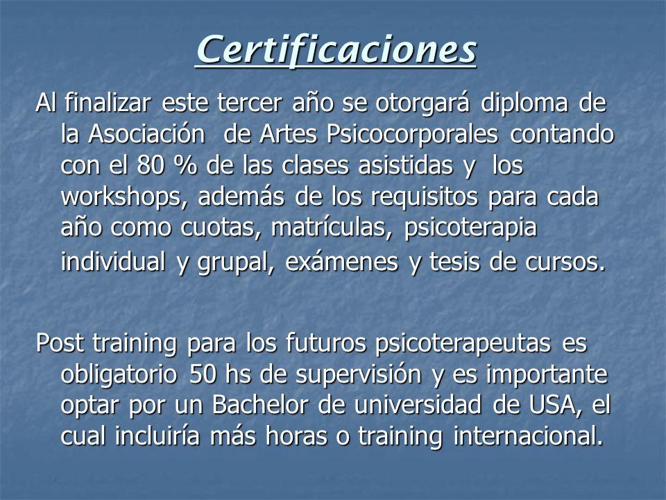 Certificaciones Al finalizar este tercer año se otorgará diploma de la Asociación de Artes Psicocorporales contando con el 80 % de las clases asistida