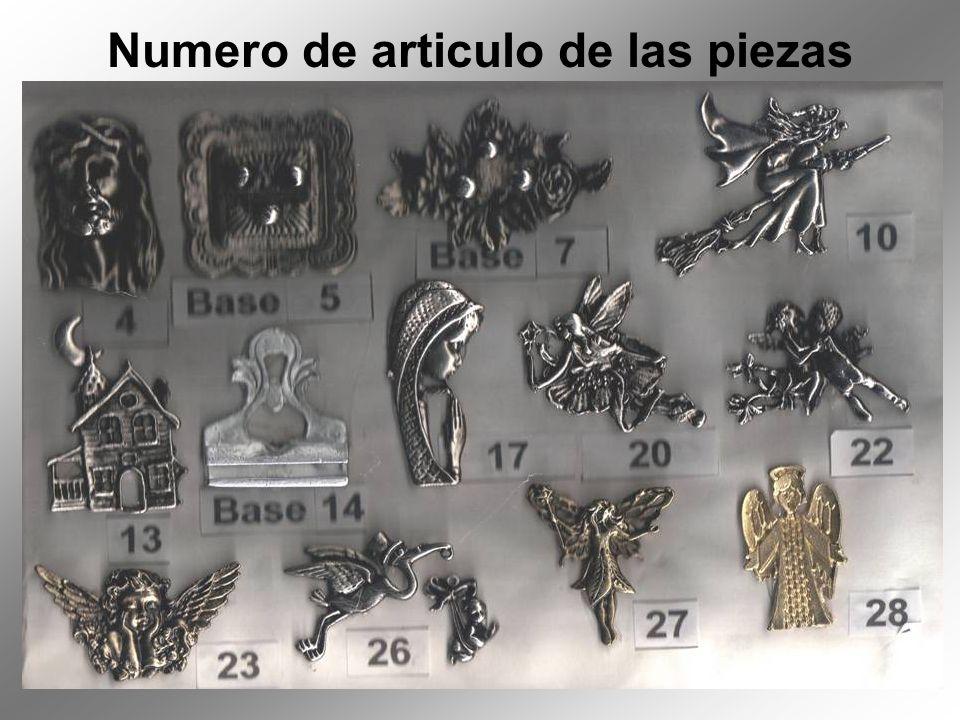 Numero de articulo de las piezas