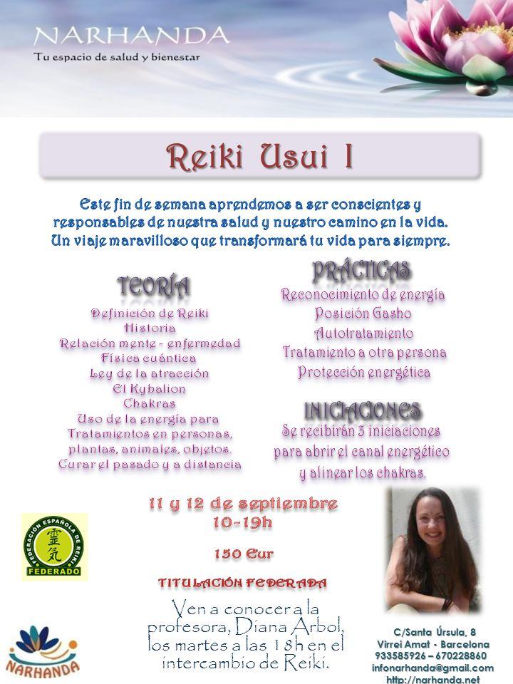 Reiki Usui I Ven a conocer a la profesora, Diana Árbol, los martes a las 18h en el intercambio de Reiki.