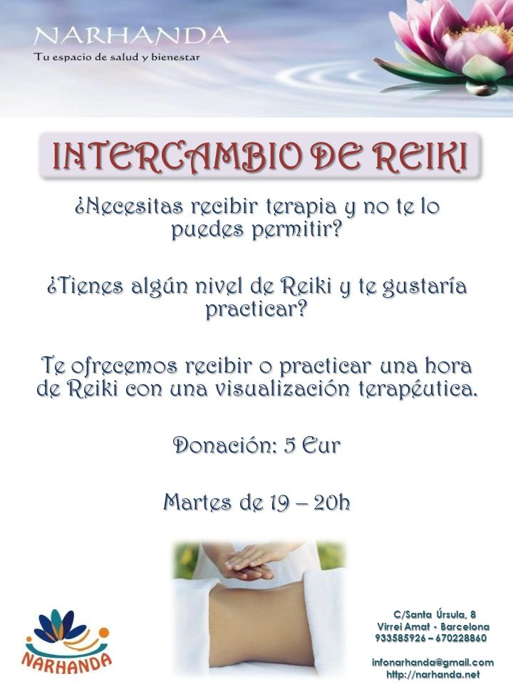 INTERCAMBIO DE REIKI ¿Necesitas recibir terapia y no te lo puedes permitir.
