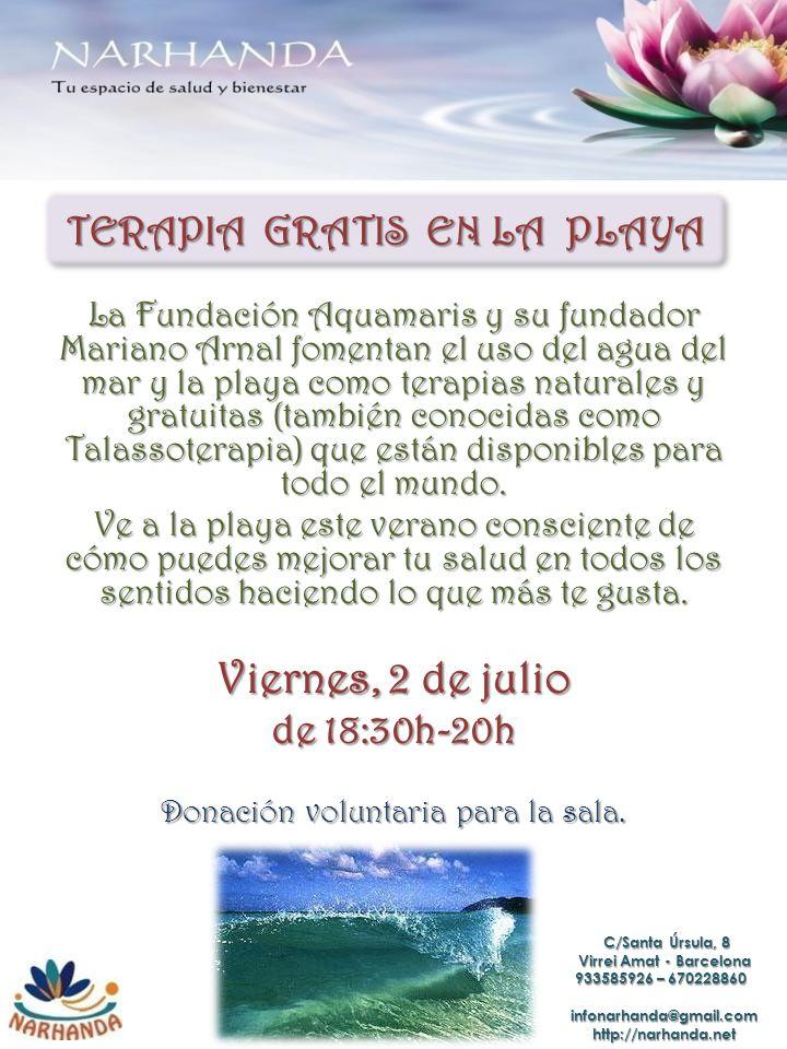 TERAPIA GRATIS EN LA PLAYA La Fundación Aquamaris y su fundador Mariano Arnal fomentan el uso del agua del mar y la playa como terapias naturales y gr