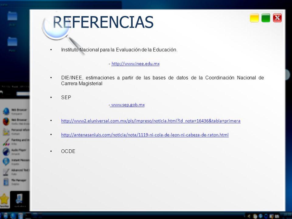 REFERENCIAS Instituto Nacional para la Evaluación de la Educación. - http://www.inee.edu.mx http://www.inee.edu.mx DIE/INEE, estimaciones a partir de