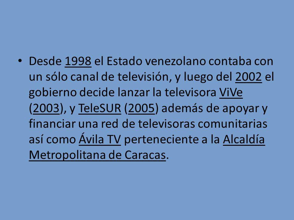 Desde 1998 el Estado venezolano contaba con un sólo canal de televisión, y luego del 2002 el gobierno decide lanzar la televisora ViVe (2003), y TeleS