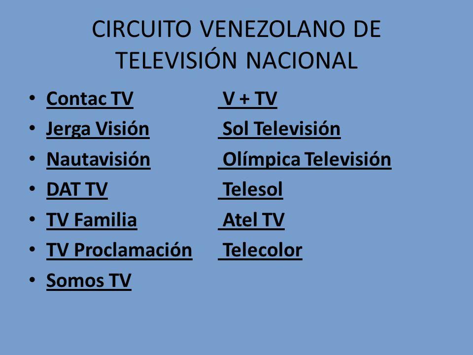 CIRCUITO VENEZOLANO DE TELEVISIÓN NACIONAL Contac TV V + TV Jerga Visión Sol Televisión Nautavisión Olímpica Televisión DAT TV Telesol TV Familia Atel