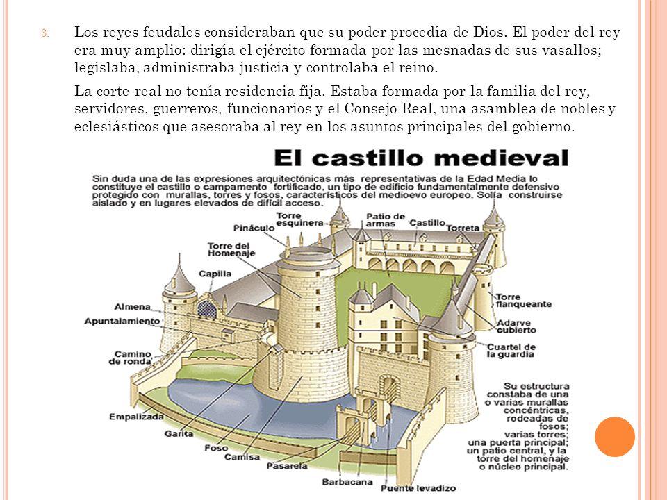 3. Los reyes feudales consideraban que su poder procedía de Dios. El poder del rey era muy amplio: dirigía el ejército formada por las mesnadas de sus