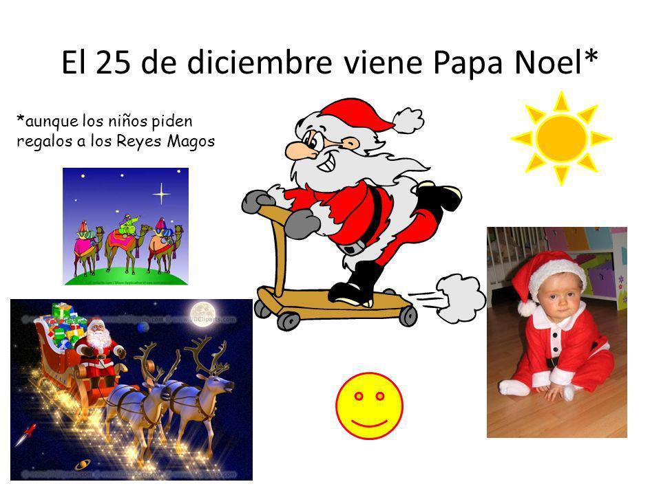 El 25 de diciembre viene Papa Noel* *aunque los niños piden regalos a los Reyes Magos