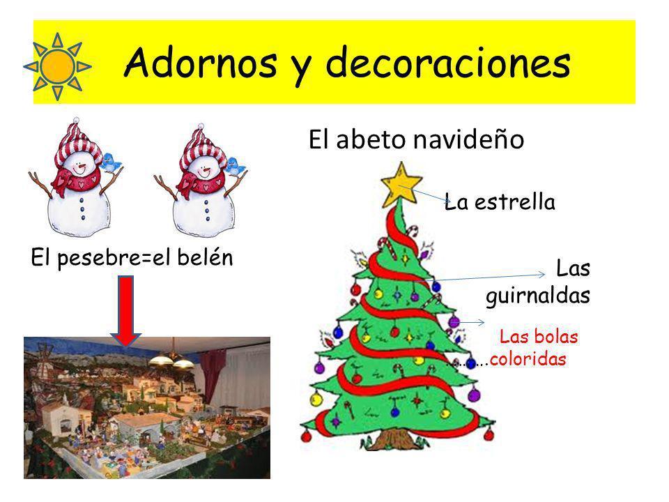 Adornos y decoraciones El abeto navideño La estrella Las bolas ……….coloridas Las guirnaldas El pesebre=el belén