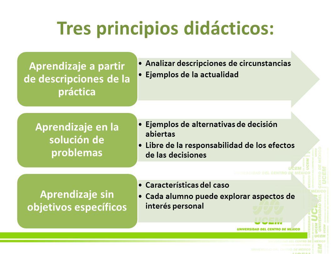 Tres principios didácticos: Analizar descripciones de circunstancias Ejemplos de la actualidad Aprendizaje a partir de descripciones de la práctica Ej