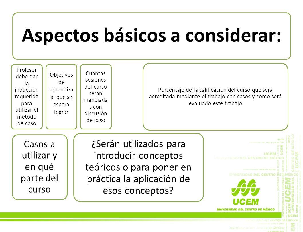 Aspectos básicos a considerar: Profesor debe dar la inducción requerida para utilizar el método de caso Objetivos de aprendiza je que se espera lograr