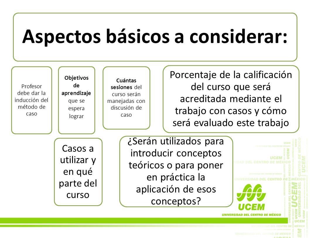 Aspectos básicos a considerar: Profesor debe dar la inducción del método de caso Objetivos de aprendizaje que se espera lograr Cuántas sesiones del cu