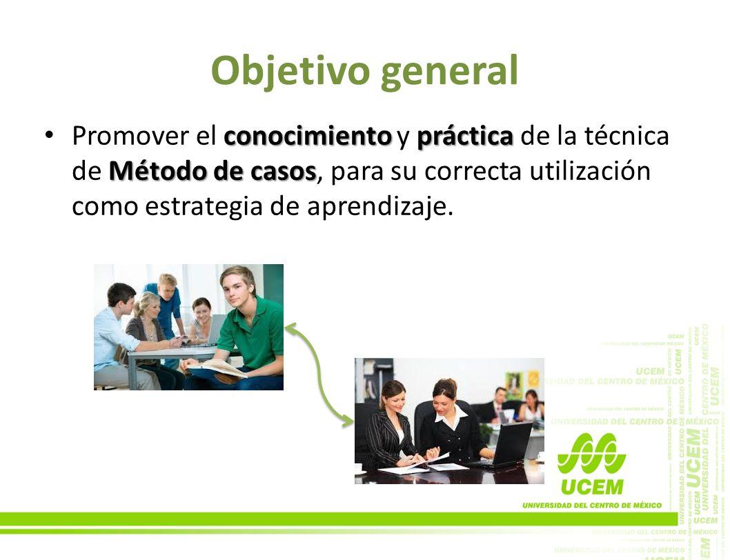 Objetivo general conocimiento práctica Método de casos Promover el conocimiento y práctica de la técnica de Método de casos, para su correcta utilizac