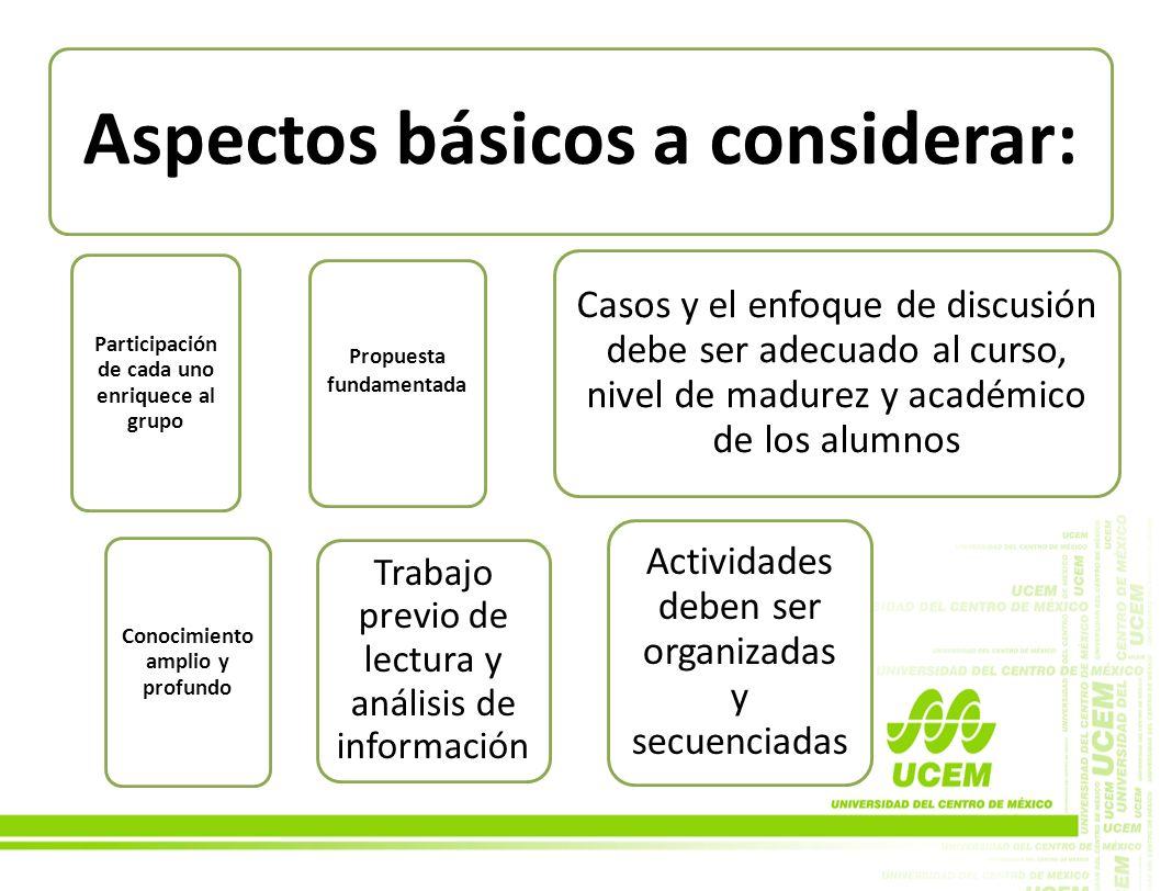 Aspectos básicos a considerar: Participación de cada uno enriquece al grupo Propuesta fundamentada Conocimiento amplio y profundo Casos y el enfoque d