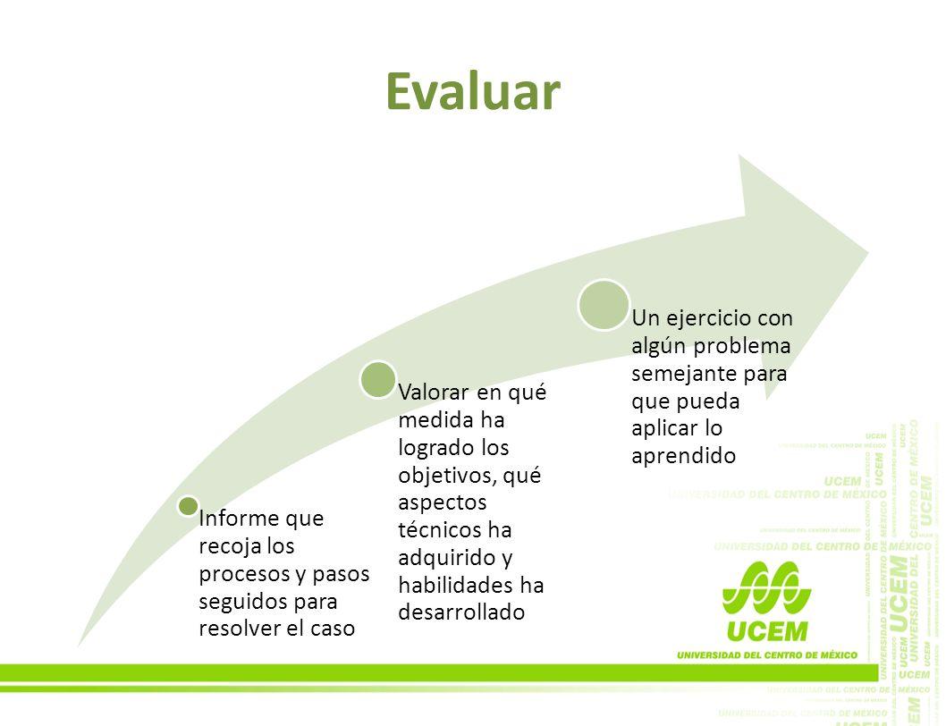 Evaluar Informe que recoja los procesos y pasos seguidos para resolver el caso Valorar en qué medida ha logrado los objetivos, qué aspectos técnicos h