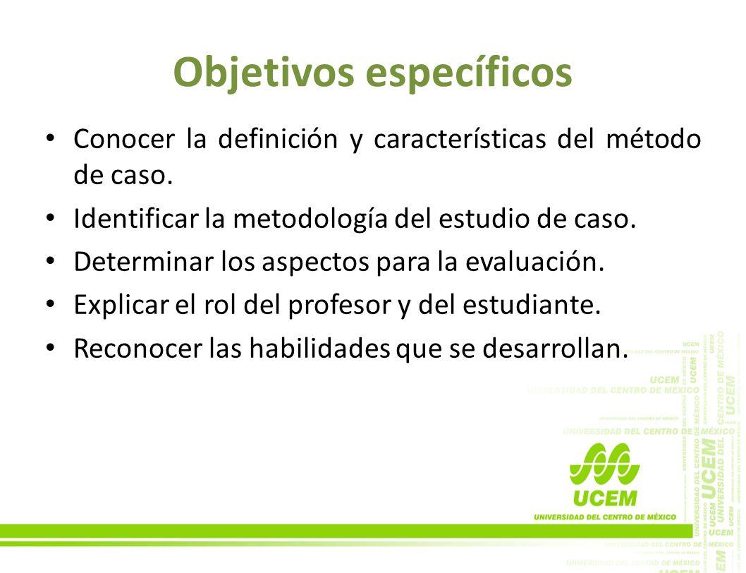 Objetivos específicos Conocer la definición y características del método de caso. Identificar la metodología del estudio de caso. Determinar los aspec