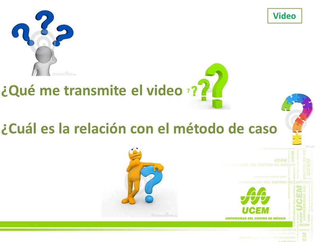 ¿Qué me transmite el video ¿Cuál es la relación con el método de caso Video
