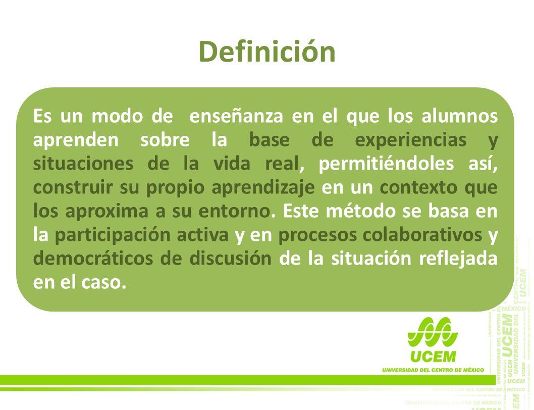 Definición Es un modo de enseñanza en el que los alumnos aprenden sobre la base de experiencias y situaciones de la vida real, permitiéndoles así, con