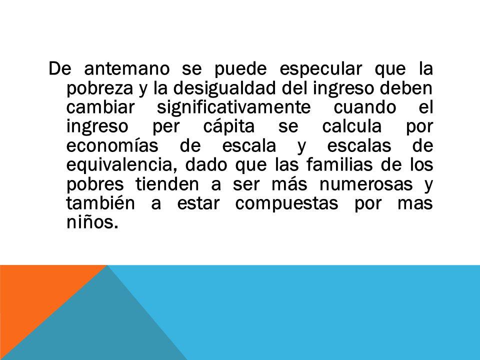 De antemano se puede especular que la pobreza y la desigualdad del ingreso deben cambiar significativamente cuando el ingreso per cápita se calcula po
