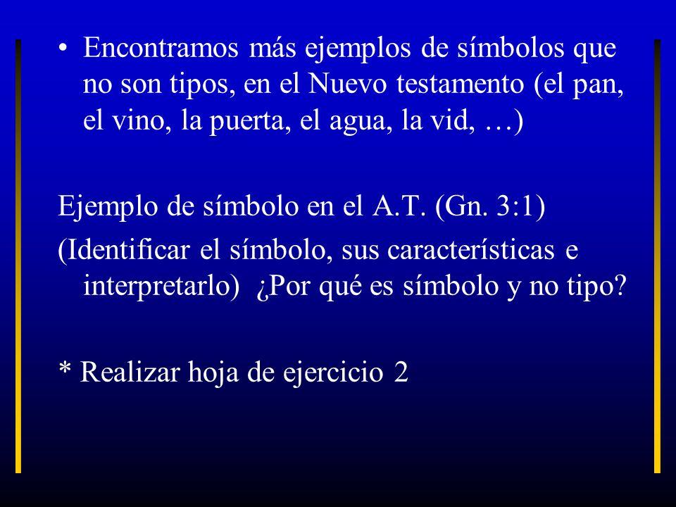 Encontramos más ejemplos de símbolos que no son tipos, en el Nuevo testamento (el pan, el vino, la puerta, el agua, la vid, …) Ejemplo de símbolo en e