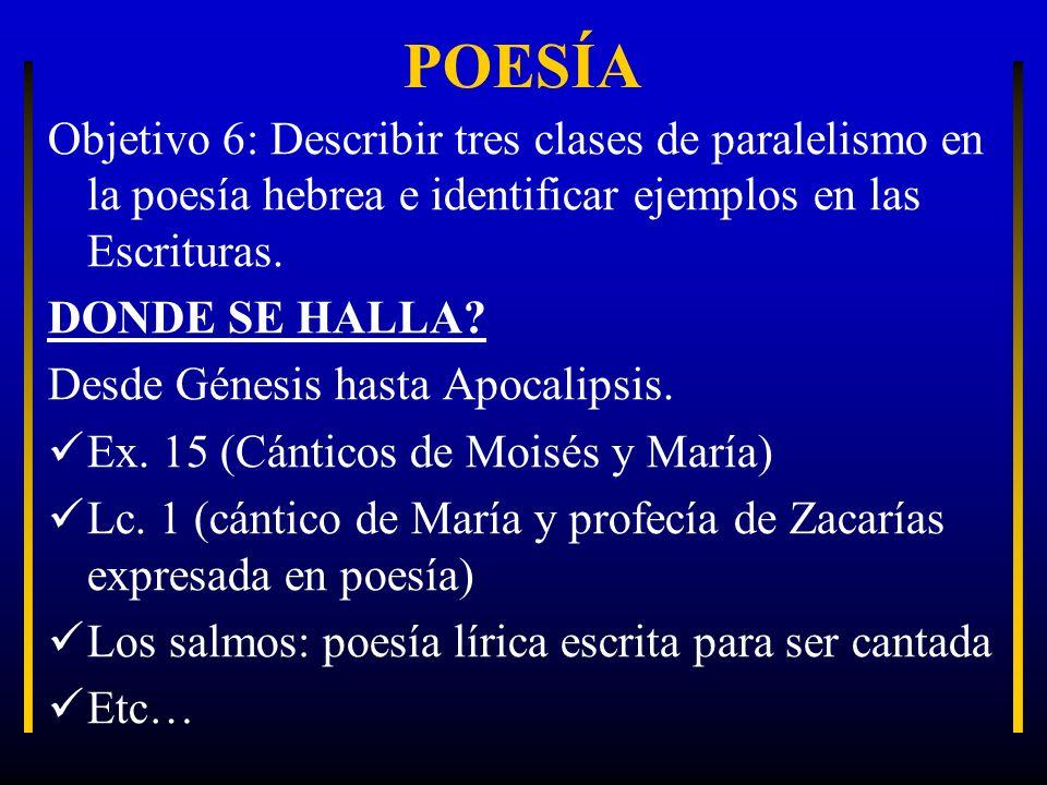 POESÍA Objetivo 6: Describir tres clases de paralelismo en la poesía hebrea e identificar ejemplos en las Escrituras. DONDE SE HALLA? Desde Génesis ha