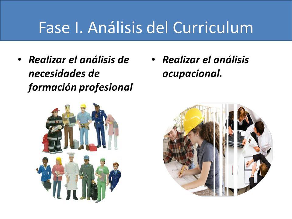 Fase I. Análisis del Curriculum Realizar el análisis de necesidades de formación profesional Realizar el análisis ocupacional.
