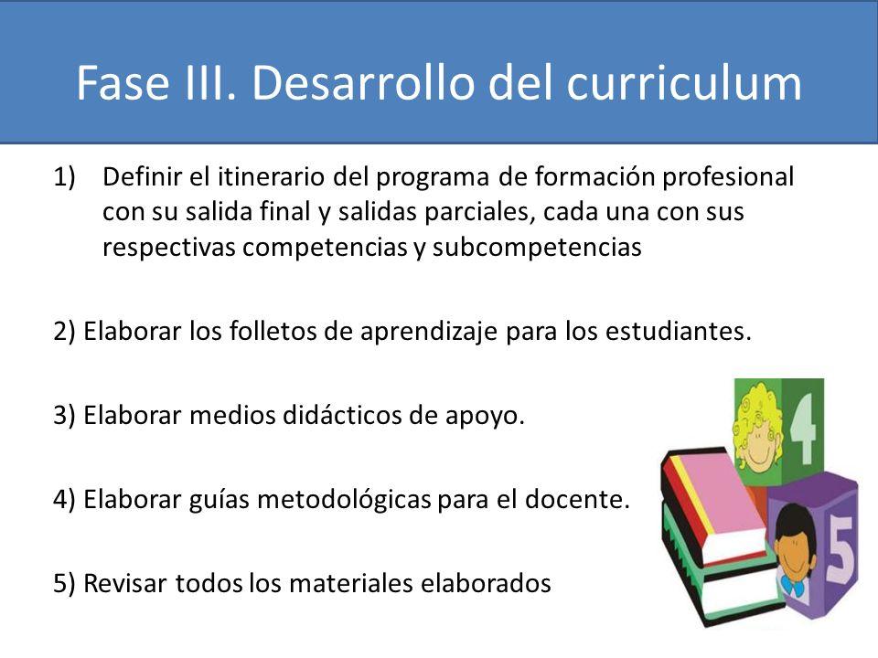 Fase III. Desarrollo del curriculum 1)Definir el itinerario del programa de formación profesional con su salida final y salidas parciales, cada una co
