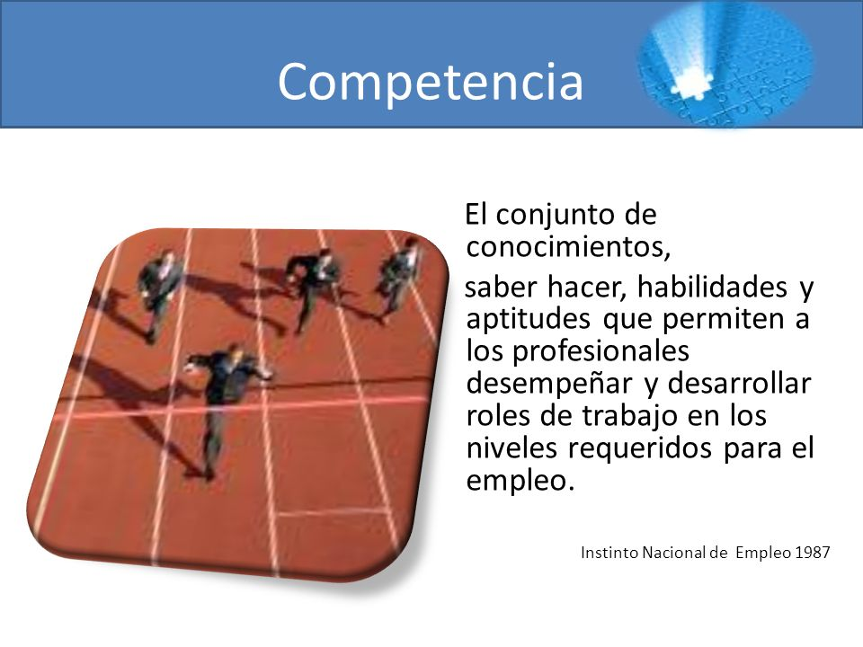 Competencia El conjunto de conocimientos, saber hacer, habilidades y aptitudes que permiten a los profesionales desempeñar y desarrollar roles de trab