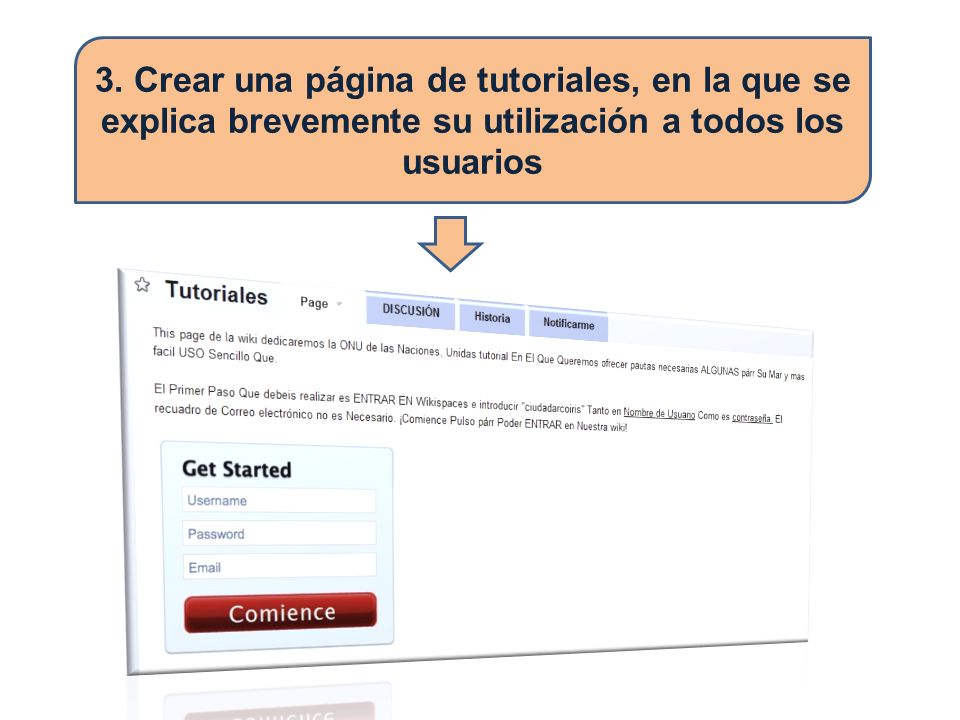 3. Crear una página de tutoriales, en la que se explica brevemente su utilización a todos los usuarios