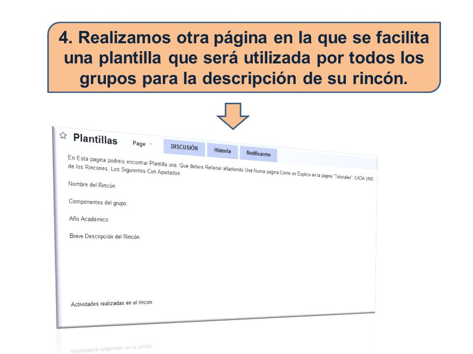 4. Realizamos otra página en la que se facilita una plantilla que será utilizada por todos los grupos para la descripción de su rincón.