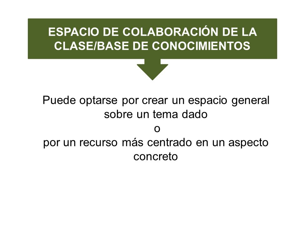 ESPACIO DE COLABORACIÓN DE LA CLASE/BASE DE CONOCIMIENTOS Puede optarse por crear un espacio general sobre un tema dado o por un recurso más centrado en un aspecto concreto