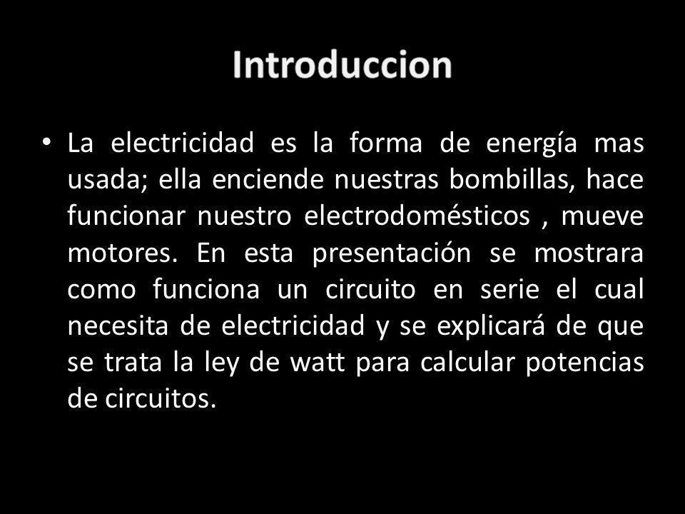 La electricidad es la forma de energía mas usada; ella enciende nuestras bombillas, hace funcionar nuestro electrodomésticos, mueve motores. En esta p