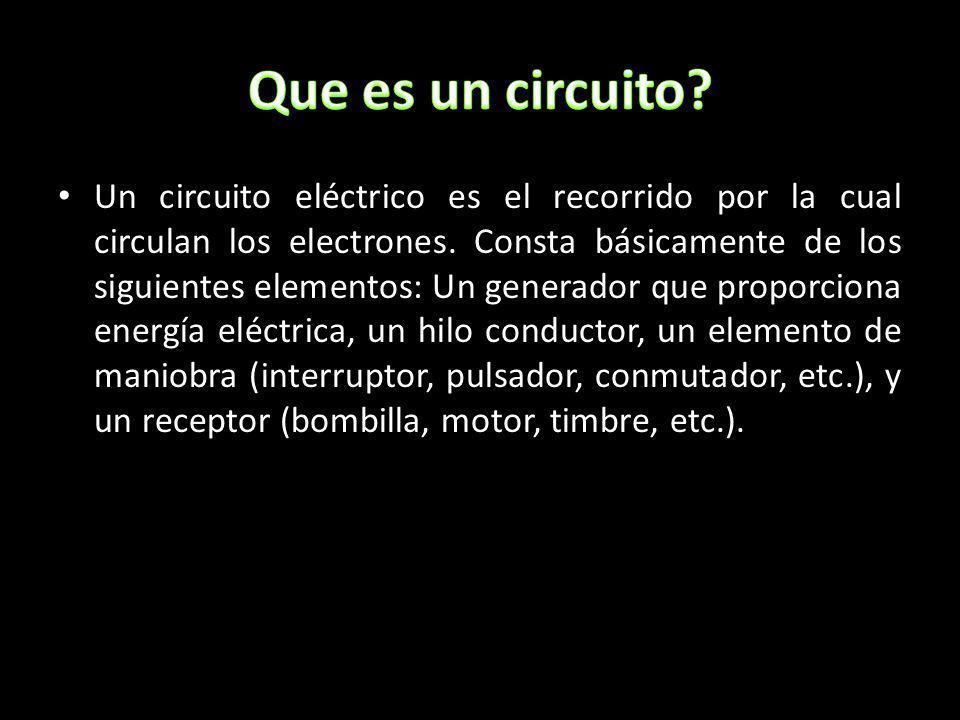 Un circuito eléctrico es el recorrido por la cual circulan los electrones. Consta básicamente de los siguientes elementos: Un generador que proporcion