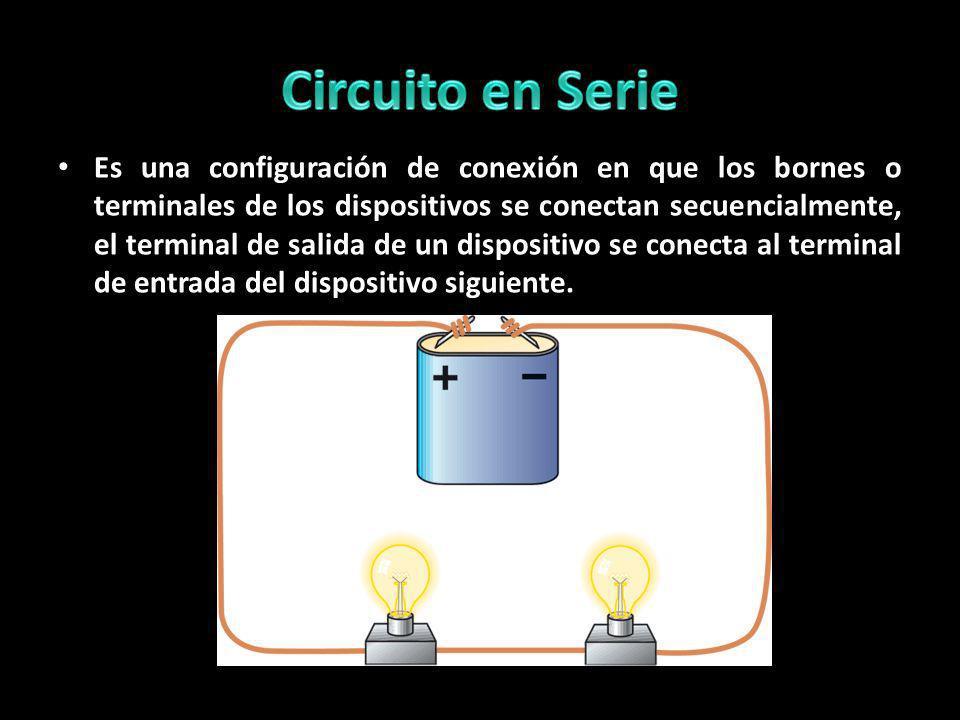 Es una configuración de conexión en que los bornes o terminales de los dispositivos se conectan secuencialmente, el terminal de salida de un dispositi