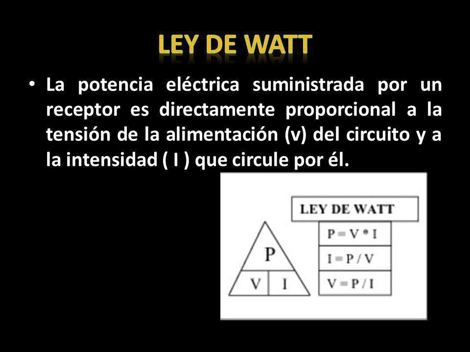 La potencia eléctrica suministrada por un receptor es directamente proporcional a la tensión de la alimentación (v) del circuito y a la intensidad ( I