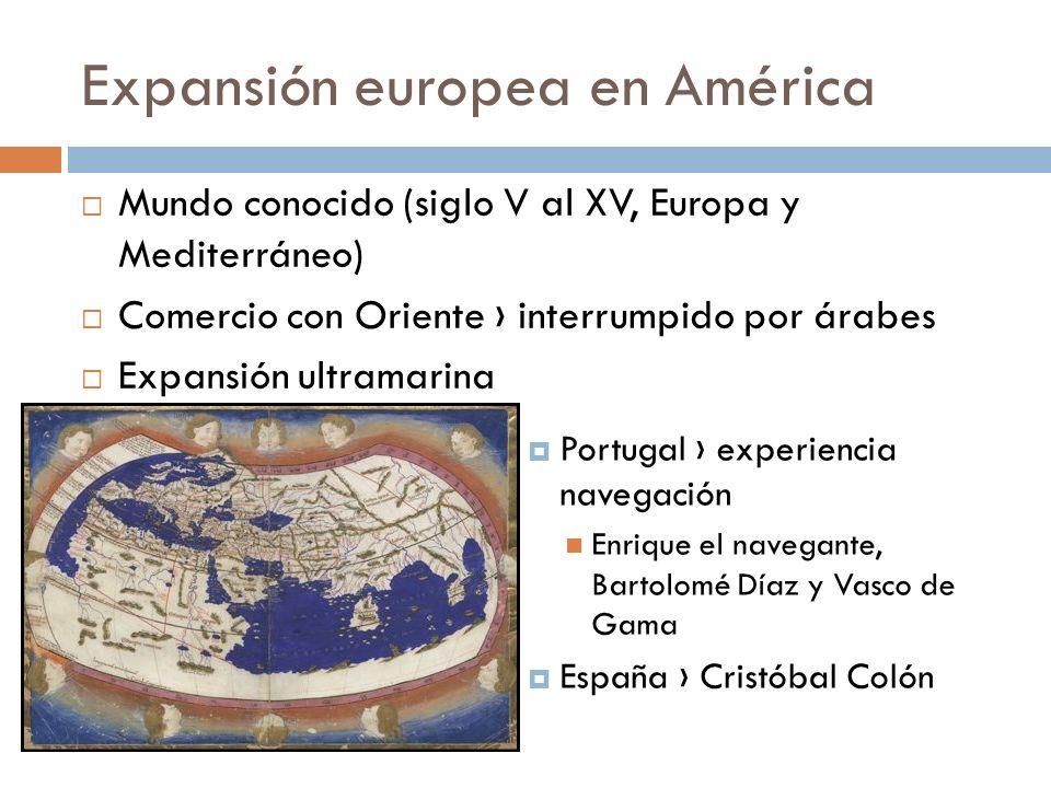 Expansión europea en América Mundo conocido (siglo V al XV, Europa y Mediterráneo) Comercio con Oriente interrumpido por árabes Expansión ultramarina