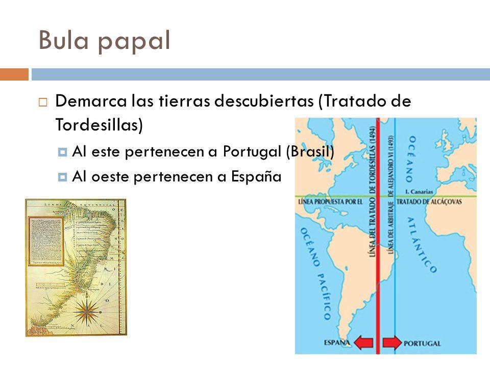 Bula papal Demarca las tierras descubiertas (Tratado de Tordesillas) Al este pertenecen a Portugal (Brasil) Al oeste pertenecen a España