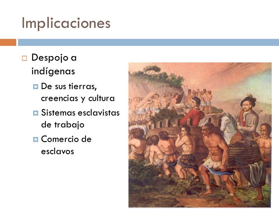 Implicaciones Despojo a indígenas De sus tierras, creencias y cultura Sistemas esclavistas de trabajo Comercio de esclavos