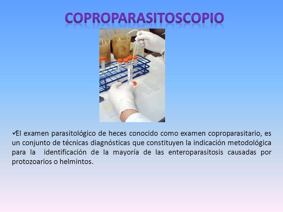 El examen parasitológico de heces conocido como examen coproparasitario, es un conjunto de técnicas diagnósticas que constituyen la indicación metodol