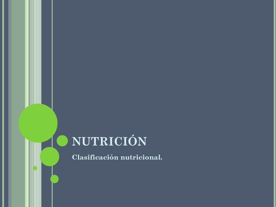 NUTRICIÓN Clasificación nutricional.