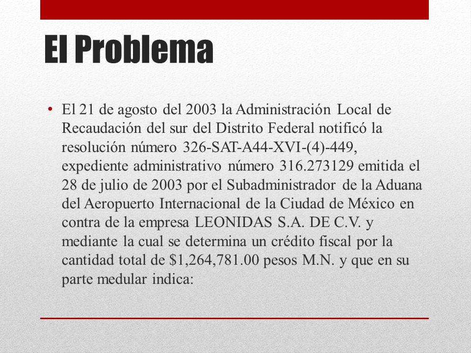 El Problema El 21 de agosto del 2003 la Administración Local de Recaudación del sur del Distrito Federal notificó la resolución número 326-SAT-A44-XVI-(4)-449, expediente administrativo número 316.273129 emitida el 28 de julio de 2003 por el Subadministrador de la Aduana del Aeropuerto Internacional de la Ciudad de México en contra de la empresa LEONIDAS S.A.