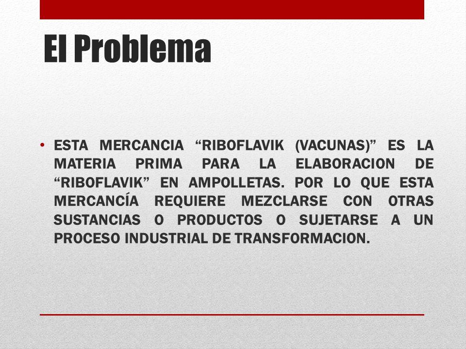El Problema ESTA MERCANCIA RIBOFLAVIK (VACUNAS) ES LA MATERIA PRIMA PARA LA ELABORACION DE RIBOFLAVIK EN AMPOLLETAS.