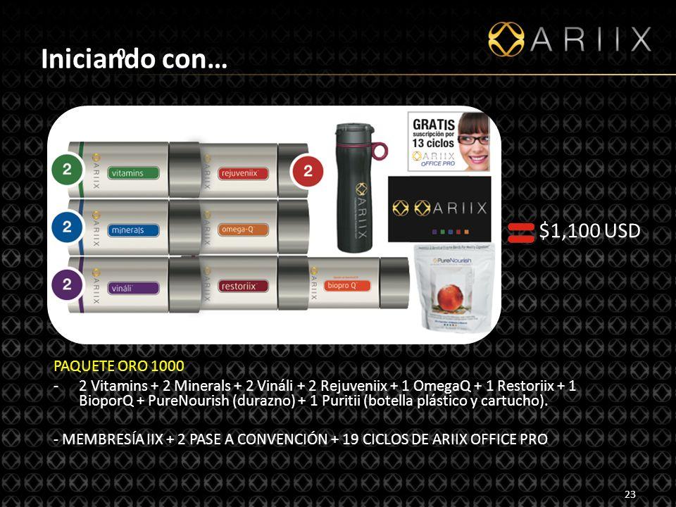 http://www.ariixlatino.net23 0 Iniciando con… PAQUETE ORO 1000 -2 Vitamins + 2 Minerals + 2 Vináli + 2 Rejuveniix + 1 OmegaQ + 1 Restoriix + 1 BioporQ + PureNourish (durazno) + 1 Puritii (botella plástico y cartucho).