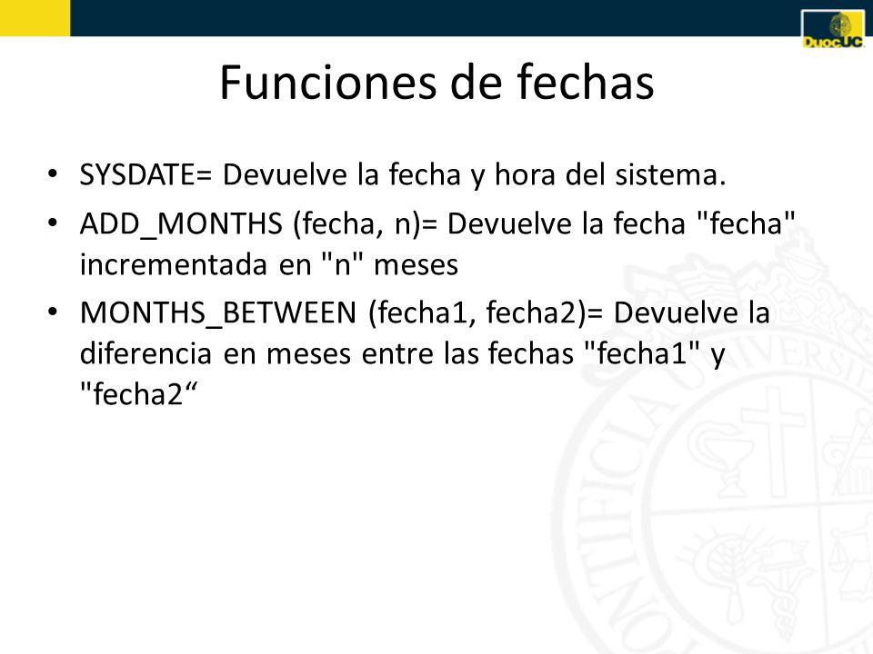Funciones de fechas SYSDATE= Devuelve la fecha y hora del sistema.
