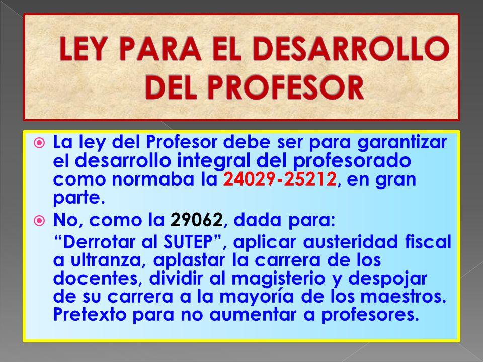 La ley del Profesor debe ser para garantizar el desarrollo integral del profesorado como normaba la 24029-25212, en gran parte.