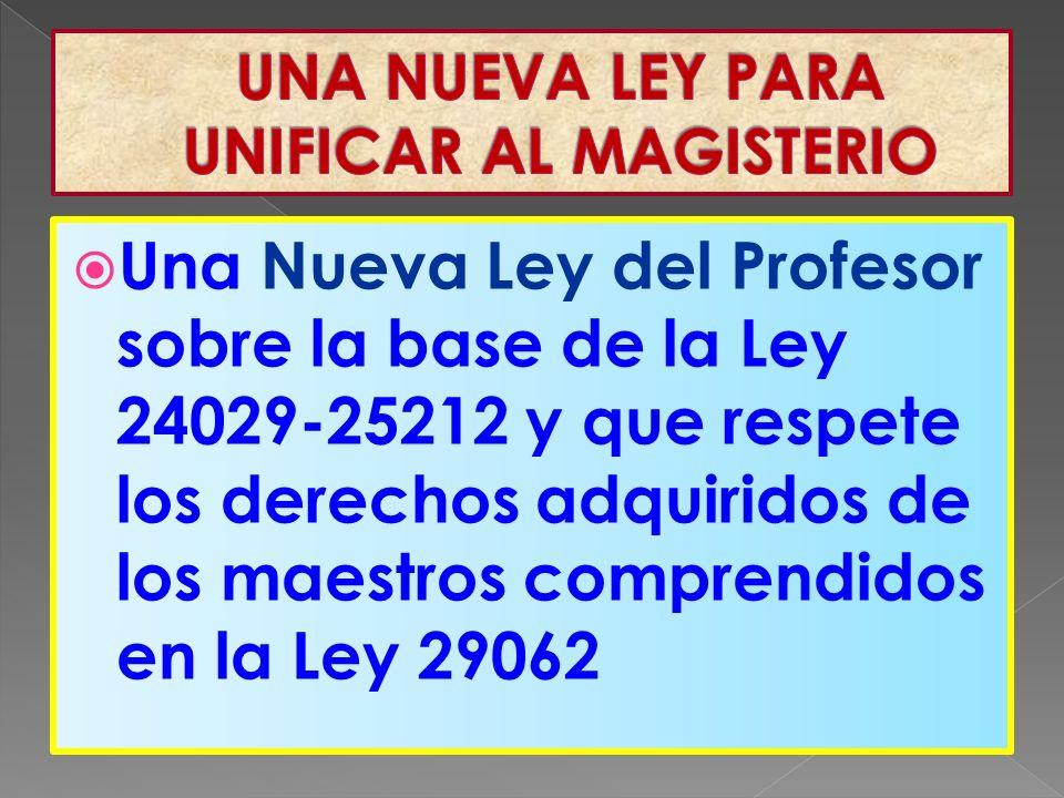 Una Nueva Ley del Profesor sobre la base de la Ley 24029-25212 y que respete los derechos adquiridos de los maestros comprendidos en la Ley 29062