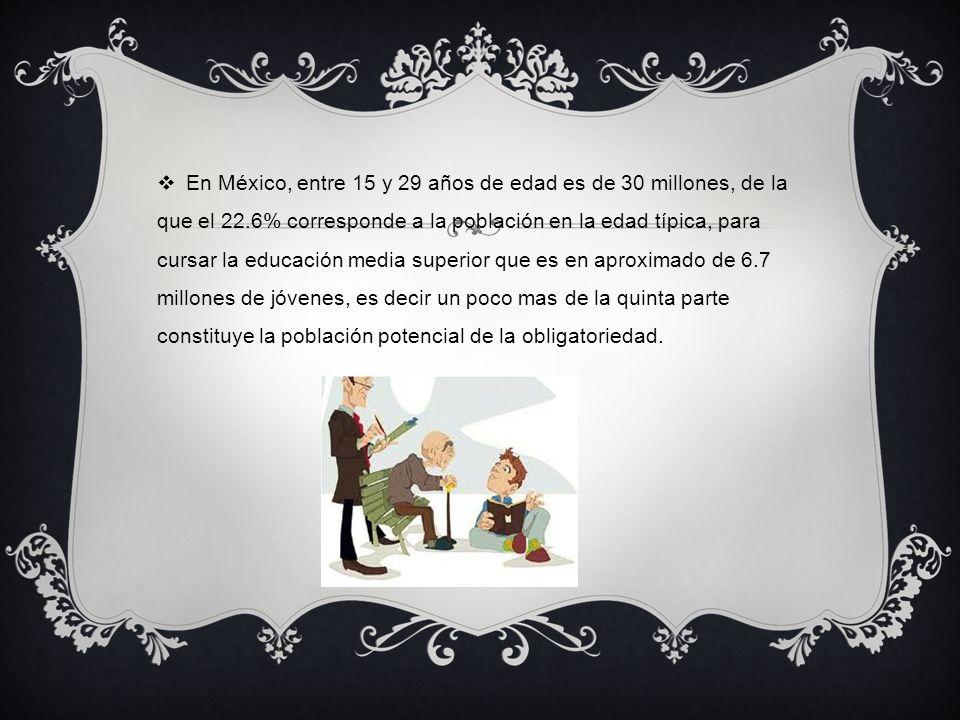 En México, entre 15 y 29 años de edad es de 30 millones, de la que el 22.6% corresponde a la población en la edad típica, para cursar la educación med