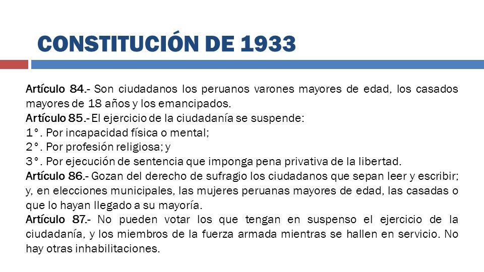 Artículo 84.- Son ciudadanos los peruanos varones mayores de edad, los casados mayores de 18 años y los emancipados. Artículo 85.- El ejercicio de la
