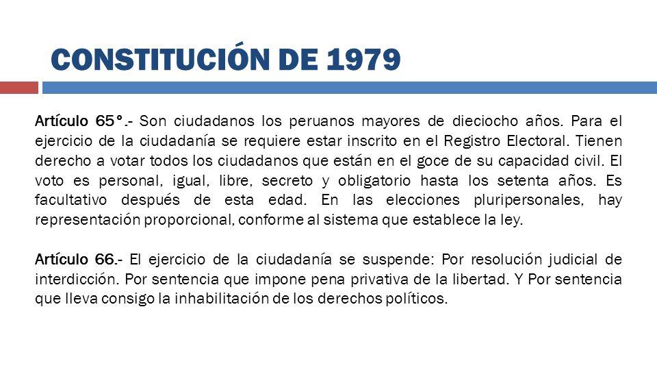 Artículo 65°.- Son ciudadanos los peruanos mayores de dieciocho años. Para el ejercicio de la ciudadanía se requiere estar inscrito en el Registro Ele